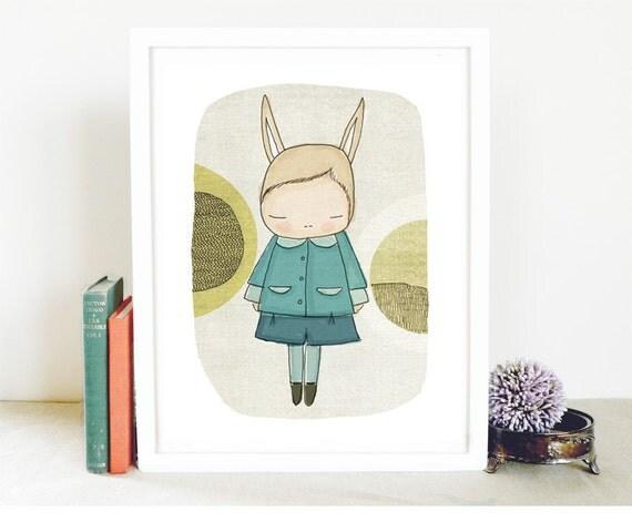 Nursery prints australia - Flissy The Bunny Rabbit, With Blue Coat and Circles