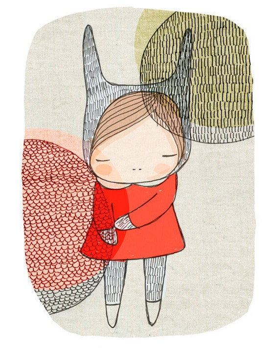 Playroom child decor - Room Decor - Bunny Rabbit With Circles Art Print 8x10 Children's
