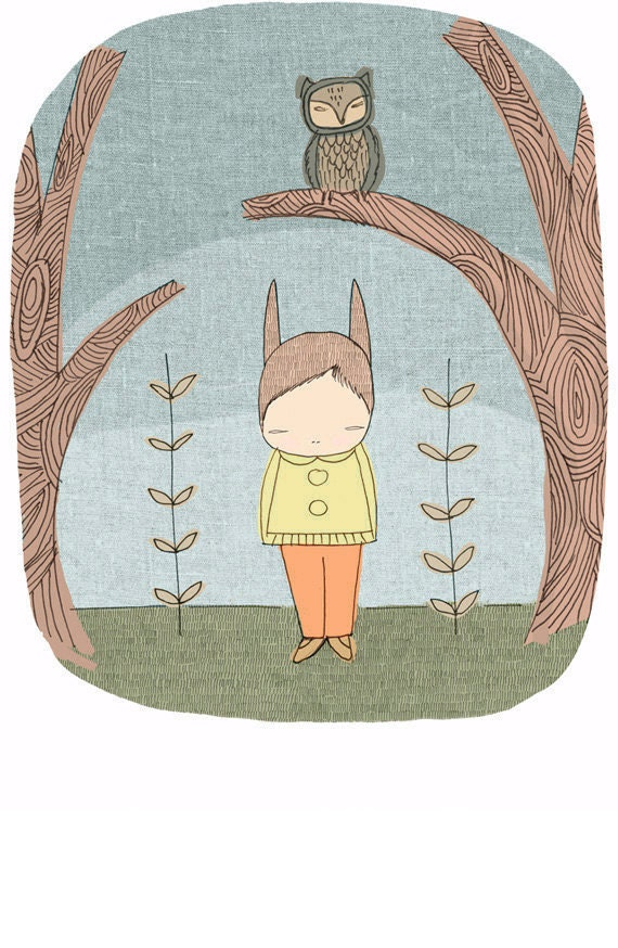 Owl and Bunny Rabbit -Children Art Print -  in the Woods (Woodlands Forest)- Milke in The Woods