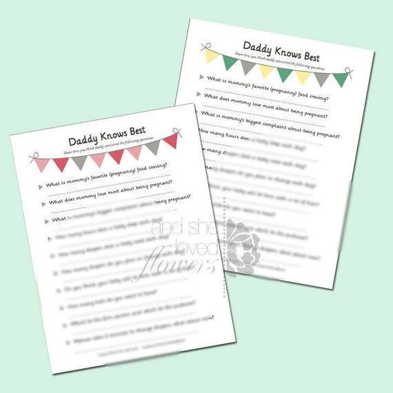 Daddy Knows Best Download - Printable Baby Shower Game