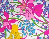 60s Hot Pink NEON Floral Vintage Fabric Signed Eduardo