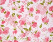 2.5yds Candy Pink Wild Roses 50s Vintage Plisse Fabric by the piece