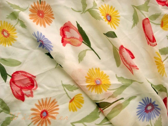 Fab 40s Floral Crepe Chiffon Vintage Fabric 3.5 Yds Rayon Georgette