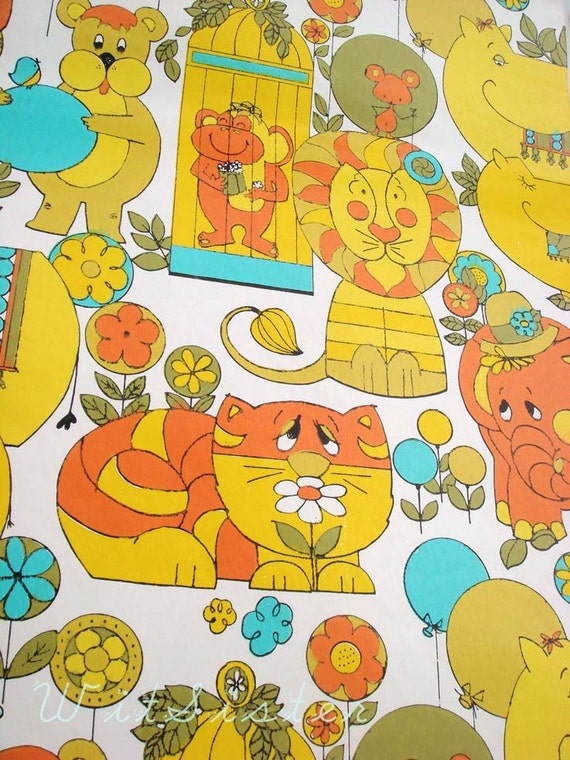 Mod 60s Kids Vintage Animal Wallpaper Psychedelic Circus