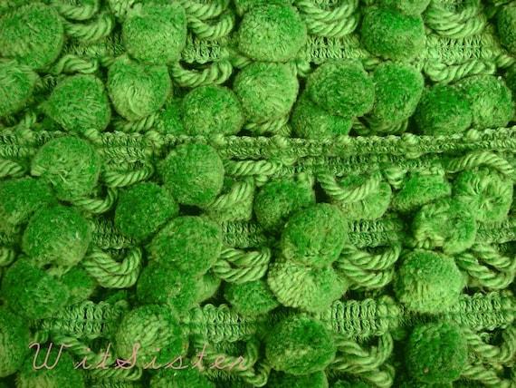 3yds Fluffy POOFY Dingle BALLS Lime Green PomPom Vintage Fabric Trim