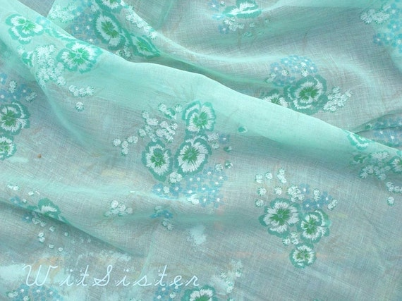 2yds Sheer Fresh Green Cotton Gauze Vintage Fabric Teal Blue Floral with Pansy & For-Get-Me-Not Babys-breath