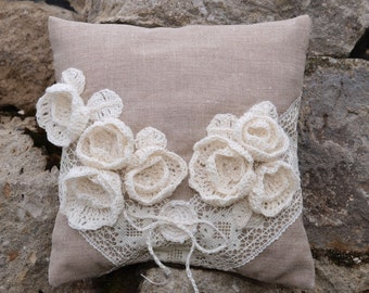 Rustic Ring Pillow Ring Bearer Pillow  Natural Linen Wedding Ring Pillow with Linen Roses