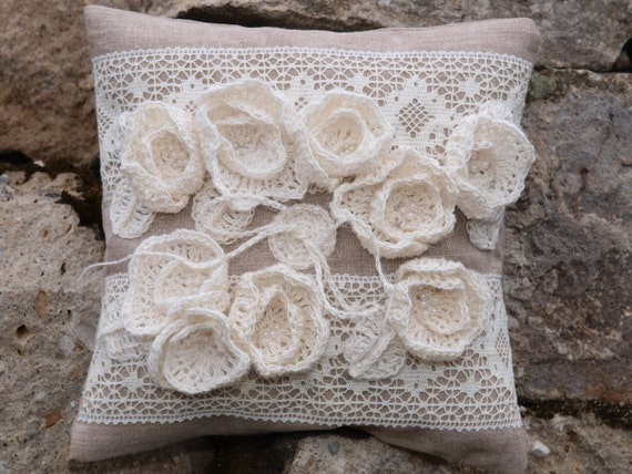 Natural Linen Wedding Ring Pillow with Linen Roses