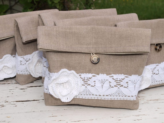 Set of 6 Natural Linen Pouches with White cotton Flower