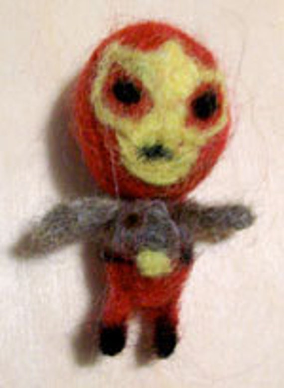 Lil Red Luchador Felted Doll