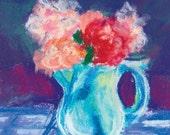 January Jeraniums 2, original chalk pastel