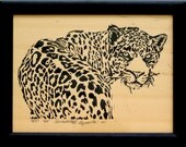 Yes, Framed Leopard Linoleum Block Print
