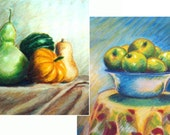 Set, Green Apples, Squashes, 8x8 Canvas or Digital