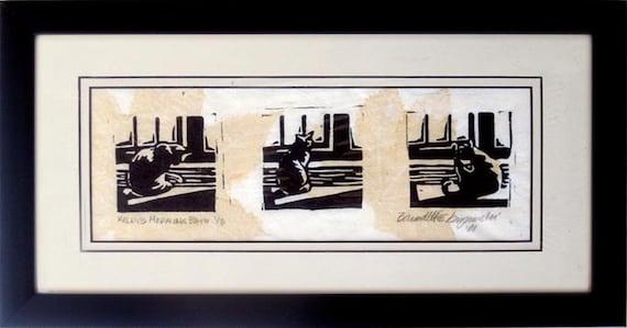 Kelly's Morning Bath 1, Framed Linoleum Block Print in Tan