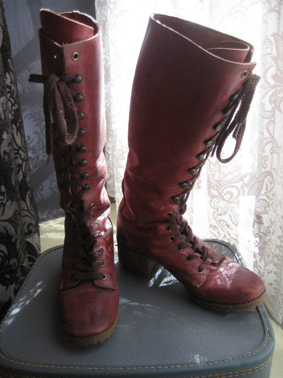 RESERVED Vintage '70s Mahogany Red / Brown Leather Tall Lace Up Granny Boots 8 8.5 8 1/2