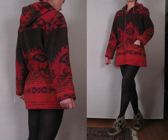 Vtg 70s 80s Woolrich Red Forest Green & Persimmon Wool NAVAJO SOUTHWESTERN BLANKET Jacket Coat w/ Hood Small