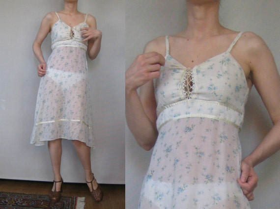 Vintage 70s White Turquoise & Green Floral SHEER Cotton Gauze CORSET Lace Up Dress xs Small