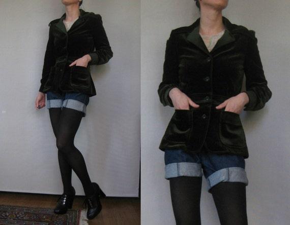 Vintage 70s Dark Green Wine Velvet PUFF SLEEVE Blazer Jacket w/ Patch Pockets & Huge Collar xs Small