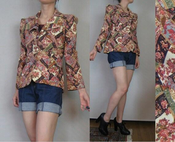 R E S E R V E D Vintage 70s Floral CALICO Corduroy PATCHWORK PUFF Sleeve Blazer Jacket Small s/m Medium