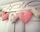 Fabric Heart Garland Shabby Chic