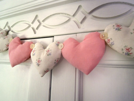 Fabric Heart Garland Shabby Chic Pink And Vintage Floral