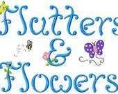Flutters and Flowers Monogram Font Machine Embroidery Designs