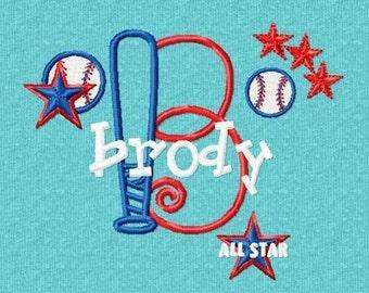 Monogram Set 11 Baseball Font Machine Embroidery Designs