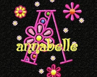 Funky Flowers Monogram Font Machine Embroidery Designs