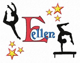 Gymnastics Monogram Font Machine Embroidery Designs