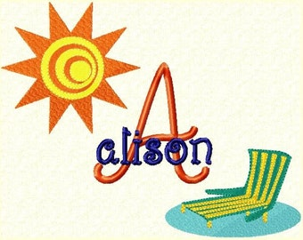 Summer Time Monogram Font Machine Embroidery Designs