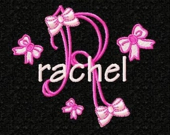 Girly Bows Monogram Font Machine Embroidery Designs