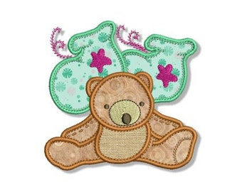 Teddy Bear and Booties Applique Machine Embroidery Design