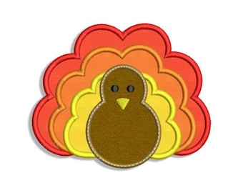 Thanksgiving Turkey Applique Machine Embroidery Design