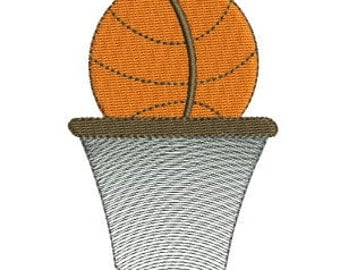 Basketball & Net Machine Embroidery Design - 4x4
