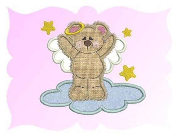 Angel Bear Applique Machine Embroidery Design