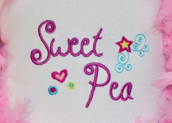 Sweet Pea Monogram Font Alphabet Machine Embroidery Designs