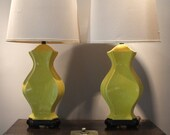 Pair of Vintage Chinoiserie Hollywood Regency Overscale Golden Yellow Crackle Finish Lamps with Original Shades