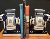 RESERVED for SUSKEL - Pair of Hollywood Regency Chinoiserie Chic Asian Blue & White Elephant Bookends Small Plant Stands