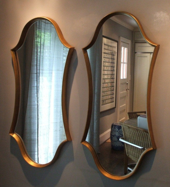 RESERVED for LARA / Hollywood Regency Chinoiserie Chic Vintage Over Scale Hourglass Shape Pair of Gold Mirrors