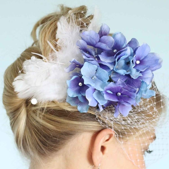 Wedding Bridal White Birdcage Blusher Veil with Blue and Purple Hydrangea, Feathered Fascinator with Rhinestones and Pearls