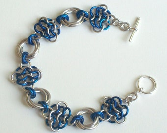 CLEARANCE, Blue Rosettes Love Knot Chain Mail Bracelet, Chainmaille Jewelry