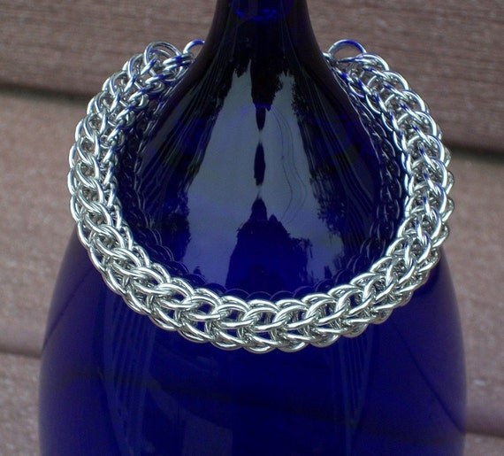 CLEARANCE, Bright Aluminum Persian Chain Mail Bracelet, Chainmaille Jewelry