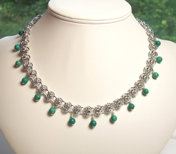 Barrels of Turquoise Chain Mail Necklace, Turquoise Gemstone and Barrel Weave Chainmaille Jewelry