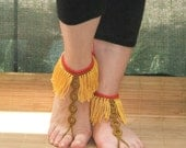 Barefoot lace yasosandals red, yellow, green(henna colour)