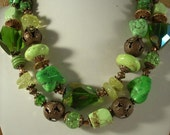 Cowgirl Necklace Lime Green Turquoise, Crystal and Copper