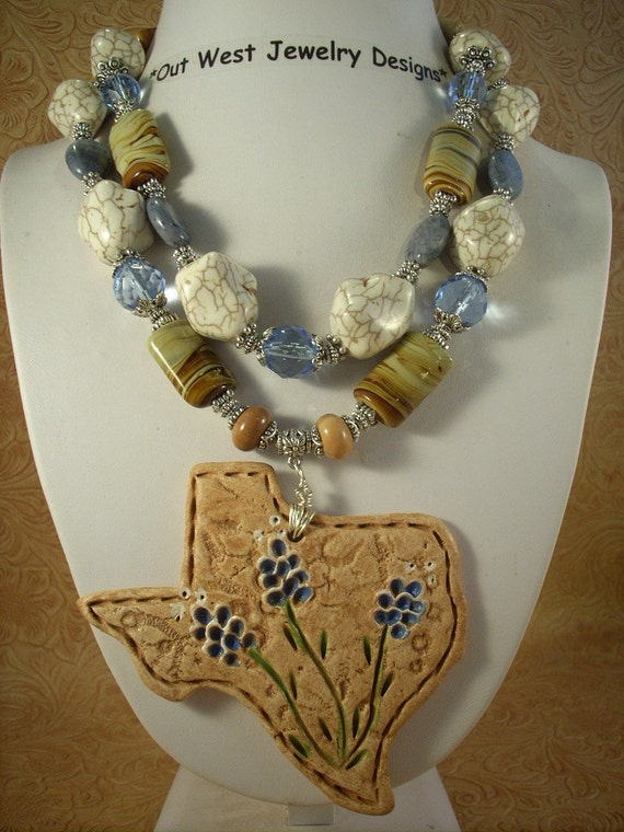 Cowgirl Necklace Chunky White Turquoise, Jasper and Coral with Texas Bluebonnet Pendant