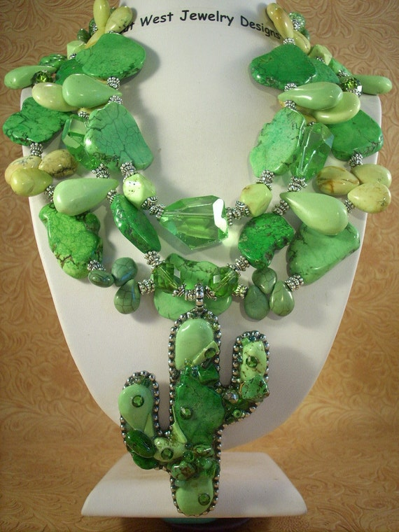 RESERVED FOR JO - Southwestern Cowgirl Chunky Lime Green Turquoise Saguaro Cactus Necklace