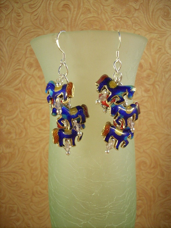 Cowgirl earrings Cloisonne Horses and Crystals