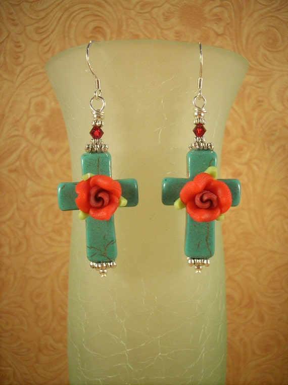 Christian Cowgirl Turquoise Howlite Cross Earrings with Roses
