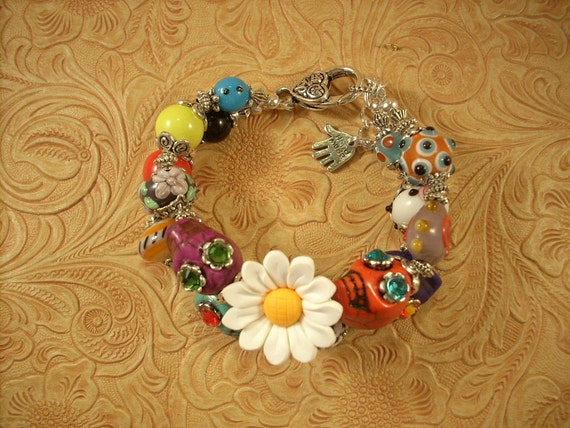 Cowgirl Bracelet Howlite Turquoise Sugar Skulls and Lampwork Beads - Day of the Dead
